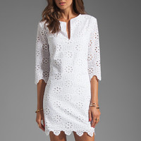 DV by Dolce Vita Charlene Daisy Embroidery Long Sleeve Dress in Snow from REVOLVEclothing.com