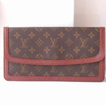 ESBYD9 Louis Vuitton Bag Monogram Clutch Brown Authentic Vintage handbag purse 70s