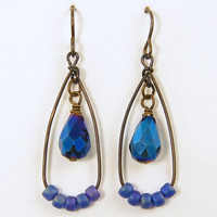 Blue Teardrop Earrings Navy Indigo Brown Dark Brass Rustic Bead and Wire Dangle Drop Jewelry