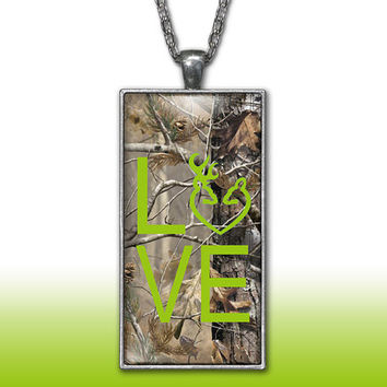 Camo Love Heart Pendant Charm Necklace Deer Head Browning Lime Apple Green Country Girl Custom Necklace, Silver Plated Jewelry