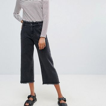 Noisy May Mazz Cropped Wide Leg Frayed Jeans at asos.com