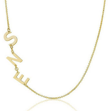 Sideways Three Letter  Initial Necklace  - 18kGold Plated .925 Sterling Silver