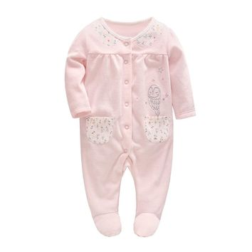 High Quality Autumn Baby Girl Clothes Newborn Baby Velvet Owl Embroidery Pink Rompers Toddler Girl Onesuit for 0-24M