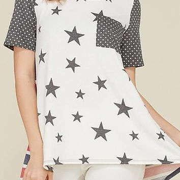 Star and Polka Dot with Stripe Back Detail Relaxed Tunic Top