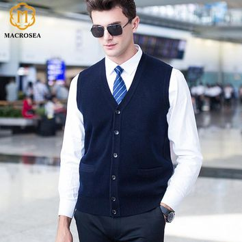 Men's Pure Color Wool Cardigan Sweater Classic Male's Knitted Sleeveless Sweater coat