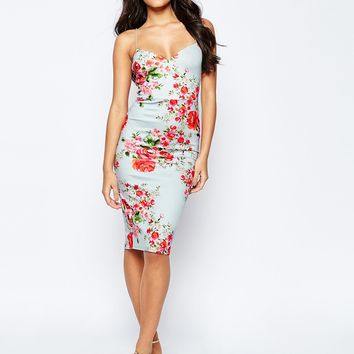 ASOS Deep Plunge Rose Midi Scuba Bodycon Dress at asos.com