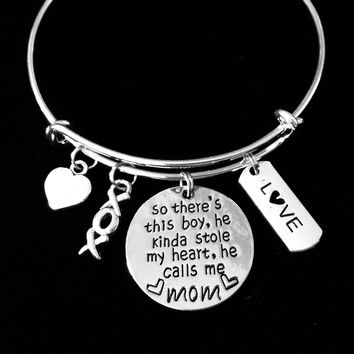 There's This Boy who Stole My Heart and He Calls Me Mom Adjustable Charm Bracelet Expandable Silver Bangle XOXO One Size Fits All Gift