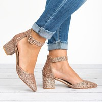 Irene Pointed Toe Pump - Champagne Glitter