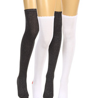 Betsey Johnson 2 Pack Kiss Me! Over-the-Knee/Sexy Sparkle Thigh High Black/White - Zappos.com Free Shipping BOTH Ways