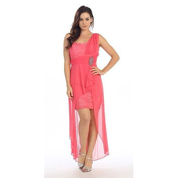 Spaghetti Strapped Short Chiffon Coral Sheath Semi Formal Dress