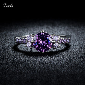 Romantic Purple Crystal Anel 925 Sterling Silver Crown Rings For Women CZ Diamond Anillos Amethyst Elegant Vintage Jewelry D199