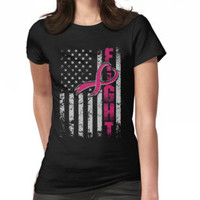 'Fighting Flag T-Shirt Breast Cancer Awareness Shirts' T-Shirt by strongwe