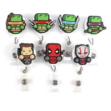 1Pcs Foreign trade Mini Ninja turtles Retractable Badge Reel Student Nurse Exihibiton ID Name Card Badge Holder Office Supplies