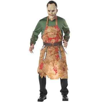 Adult Bloody Butcher Costume Horror Ghoul Killer Costume Scary Halloween Fancy Dress Shirt Mask Apron Belt MenCosplay Outfit