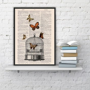 Release the Butterflies n04 Cage collage Print on Vintage Dictionary  page - book art print