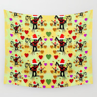 Santa with friends and season love Wall Tapestry by Pepita Selles