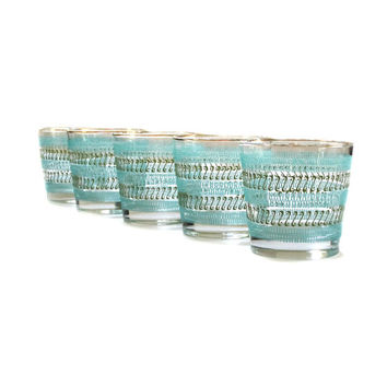 Vintage Libbey Scotch Glasses Tumblers Turquoise Green