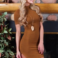 Lola Lyn Ribbed Dress - Camel