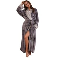 SUNBABY Thicker Long Flannel Sleepwear for Women and Man Imitation Fur Collar Bathrobes Warm Couple Pajamas