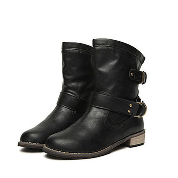 Soft Leather Booties Autumn Winter Ankle Boots Fashion Black Buckle Low Heel Slip On Women's Knight Boots Casual Women Shoes