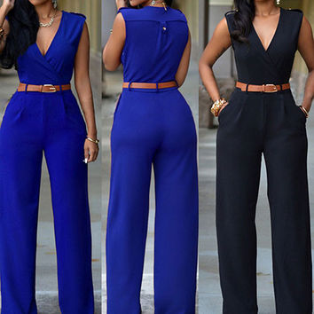 Women Sleeveless V-Neck High Waist Wide Leg Romper Pants Jumpsuit with Belt