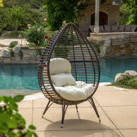Catlyn Teardrop Wicker Lounge Chair with Cushion