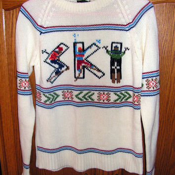 SKI Novelty Sweater by Sigallo Hipster Graphic Word Letter Art Sweater Skiing Skiers