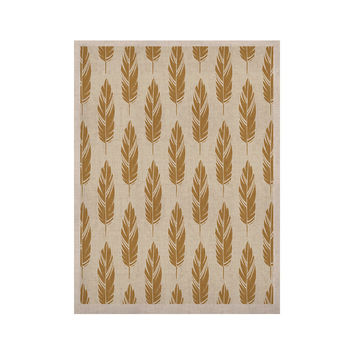 "Amanda Lane ""Feathers Yellow Cream"" Mustard Pattern KESS Naturals Canvas (Frame not Included)"