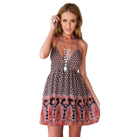 Black Retro Print Backless V-Neck Mini Dress