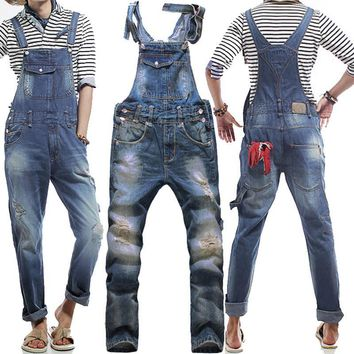 Men's Korean style slim Jumpsuits Hole suspenders jeans for men Mens denim bib pants Blue Denim Overalls Trouser For Man 033001