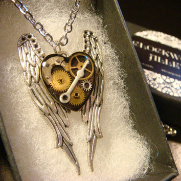 Clockwork Heart on Angel Wings Steampunk Inspired Necklace (2248)