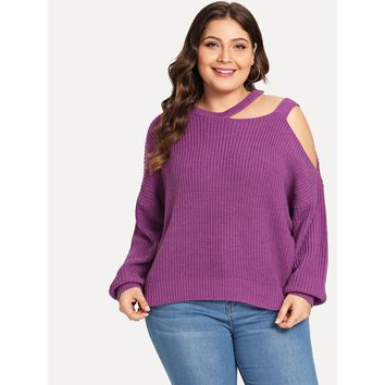 Plus Cut Out One Shoulder Solid Sweater Purple