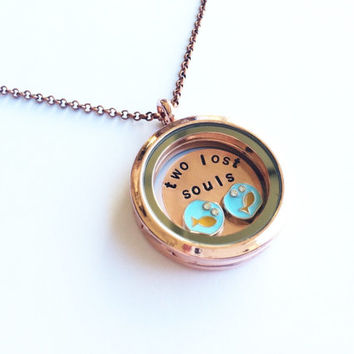 "Pink Floyd ""Two Lost Souls"" Floating Charm Locket Necklace, Hand Stamped"