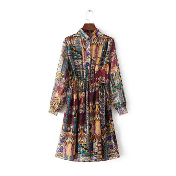 Geometric Print  Long Sleeve Elastic Waist Single Breasted Dress