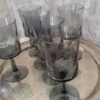 Smokey Gray Wine, Water Goblets, Swirled Ribbed Straight Bowl, Medium Pedestal, Set of Six Retro Mod 1970s Wine Glasses