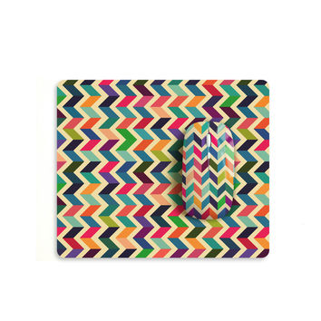 Colourful chevron mouse with matching mouse pad M007