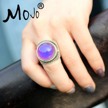 Mojo Vintage Bohemia Retro Color Change Mood Ring Emotion Feeling Changeable Ring Temperature Control Ring for Women MJ-RS045