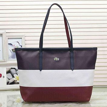 Lacoste Women Fashion Leather Handbag Tote Shoulder Bag Satchel