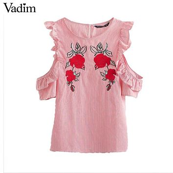 Vadim women sweet ruffles off shoulder floral embroidery striped shirts short sleeve o neck blouse causal fashion tops DT1119