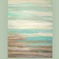 "Art,Painting,Abstract,Acrylic,Original Painting,Canvas Art Coastal Shabby Chic Titled: Clear Skies 36x48x1.5"" by Ora Birenbaum"