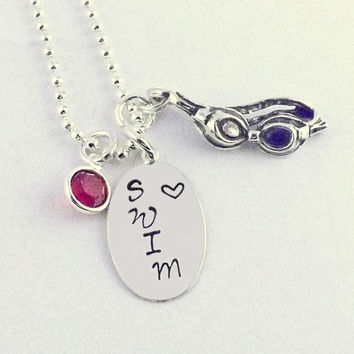 Oval Love SWIM Sterling Charm Necklace with Sterling Silver Goggles Charm and Swarovski Crystal Chanel Drop Birthstone