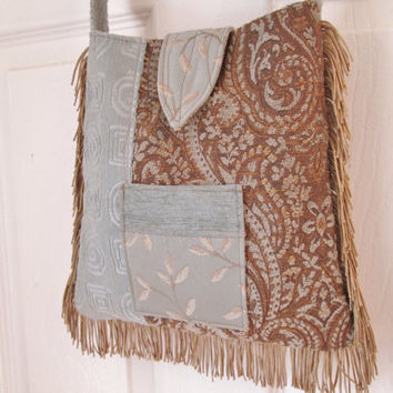 Boho Gypsy Hippie Tapestry Fringe Cross Body Bag