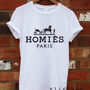 HOMIES Paris Funny Logo Printed T Shirt Tee Black and White For Men Women Unisex Size - Part 1