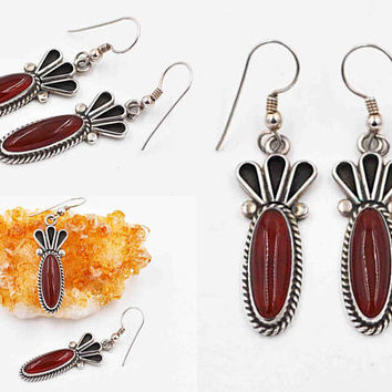 Vintage Zuni/Cochiti Sterling Silver & Carnelian Pierced Earrings, Bernadette Eustace, Red, Shadow Box, Oxidized, Superb! #c213