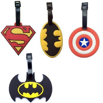 Batman Dark Knight gift Christmas 4Style Superman Batman Captain America Creative Silicone Luggage Tag Pendants Hang Tags Tourist Products Toy Figure 1pc AT_71_6