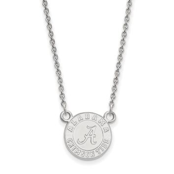Alabama Crimson Tide Logo Necklace in Rhodium Flashed Sterling Silver - Small