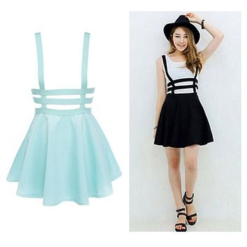 New Retro Women Hollow Mini Skater Skirt Summer Cute Suspender Clothes Straps High Waist Skirts Black White