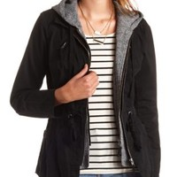 Layered & Hooded Anorak Jacket by Charlotte Russe - Black Combo
