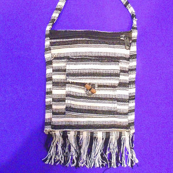 Boho Cross Body Purse Black and White Indian Cotton Woven Zippered Shoulder Bag--ON SALE
