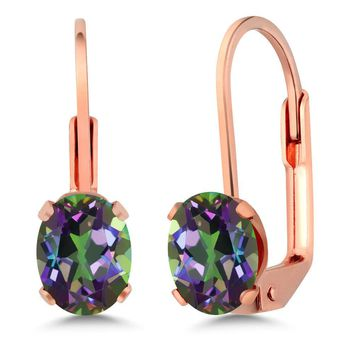 1.60 Ct Oval 7x5mm Green Mystic Topaz Rose Gold Plated Brass Leverback Earrings